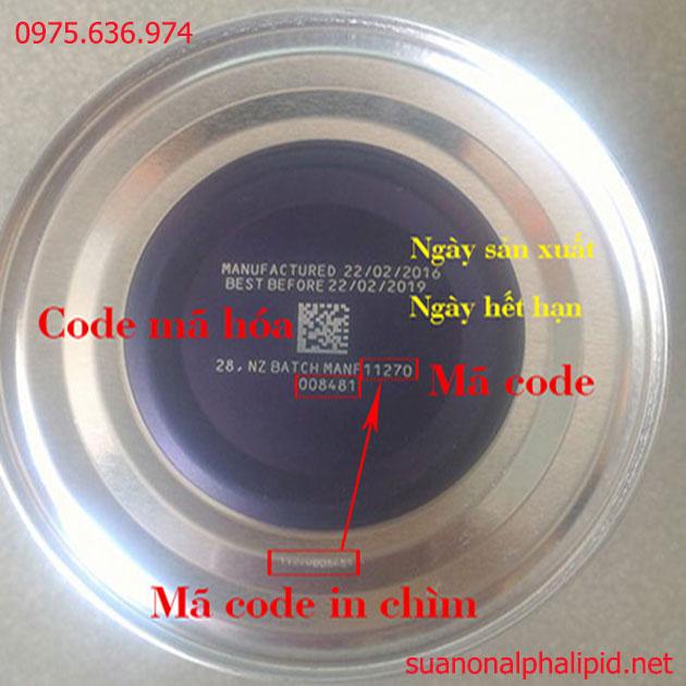 Thông tin & mã code dưới đáy lon sữa non alpha lipid